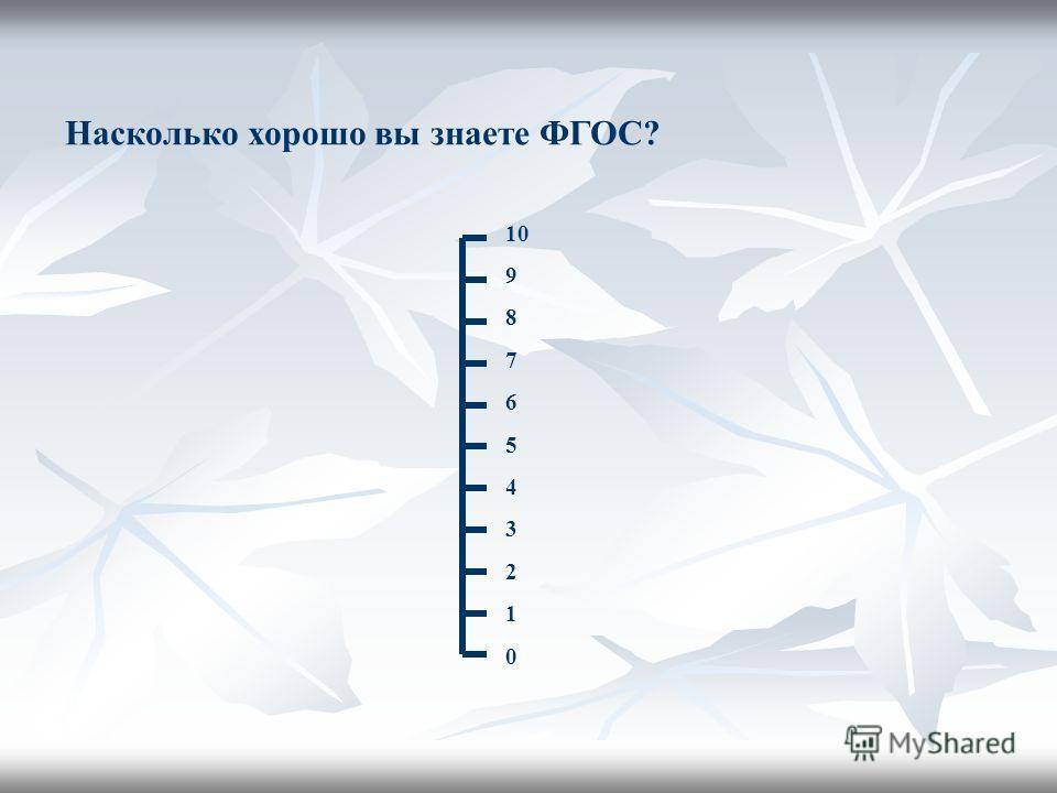 Насколько хорошо вы знаете ФГОС? 10 9 8 7 6 5 4 3 2 1 0
