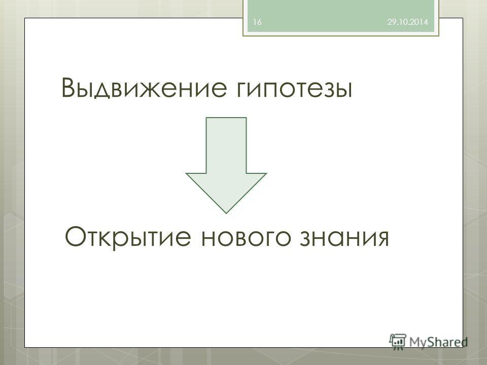 Выдвижение гипотезы Открытие нового знания 29.10.201416