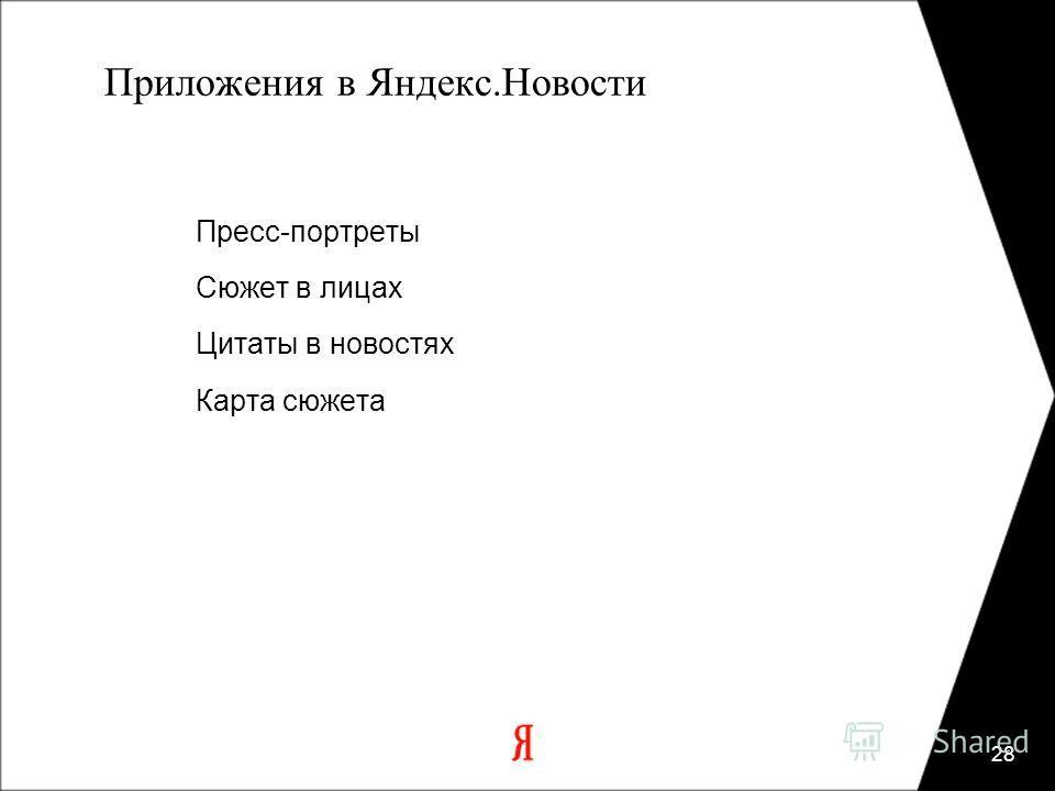 28 Приложения в Яндекс.Новости Пресс-портреты Сюжет в лицах Цитаты в новостях Карта сюжета