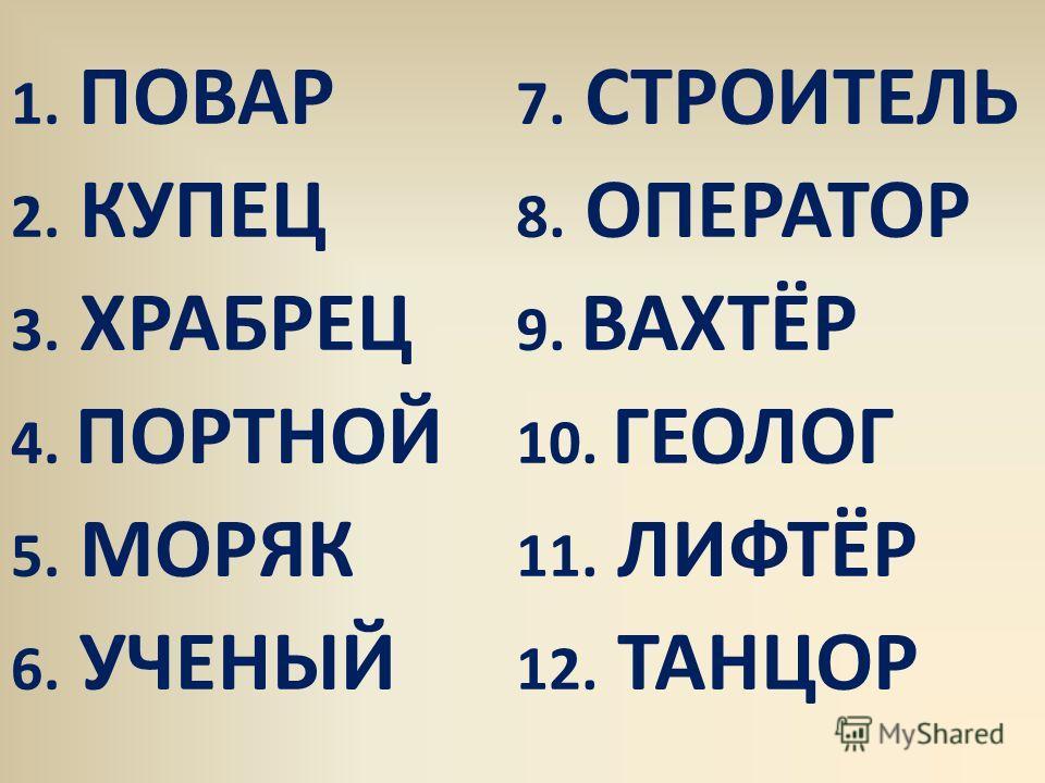 1. ПОВАР 7. СТРОИТЕЛЬ 2. КУПЕЦ 8. ОПЕРАТОР 3. ХРАБРЕЦ 9. ВАХТЁР 4. ПОРТНОЙ 10. ГЕОЛОГ 5. МОРЯК 11. ЛИФТЁР 6. УЧЕНЫЙ 12. ТАНЦОР