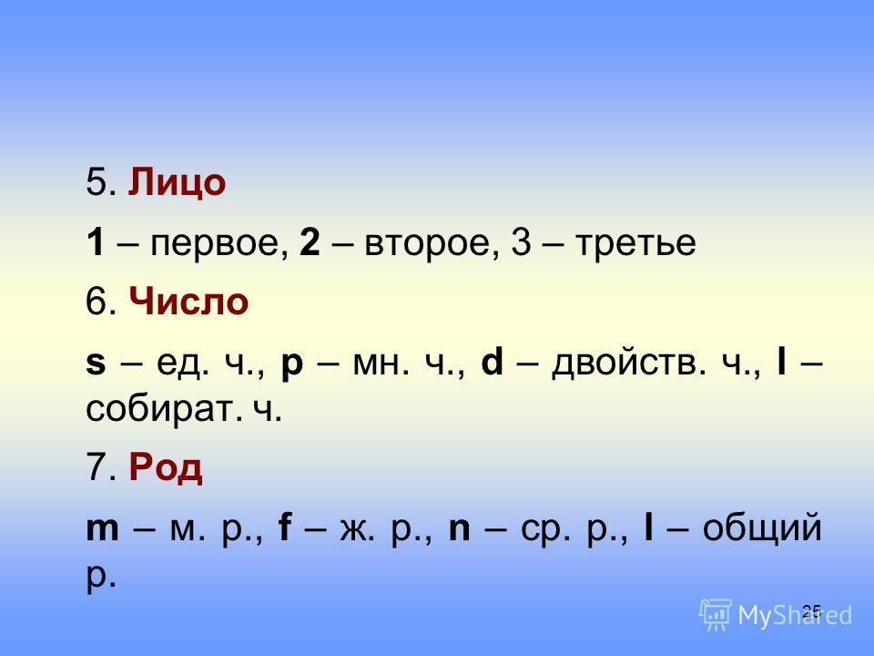 5. Лицо 1 – первое, 2 – второе, 3 – третье 6. Число s – ед. ч., p – мн. ч., d – двойств. ч., l – собират. ч. 7. Род m – м. р., f – ж. р., n – ср. р., l – общий р. 25
