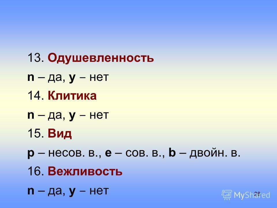 13. Одушевленность n – да, y нет 14. Клитика n – да, y нет 15. Вид p – несов. в., e – сов. в., b – двойн. в. 16. Вежливость n – да, y нет 28