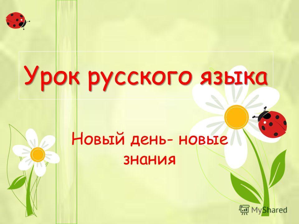 Урок русского языка Новый день- новые знания