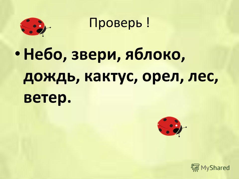 Проверь ! Небо, звери, яблоко, дождь, кактус, орел, лес, ветер.