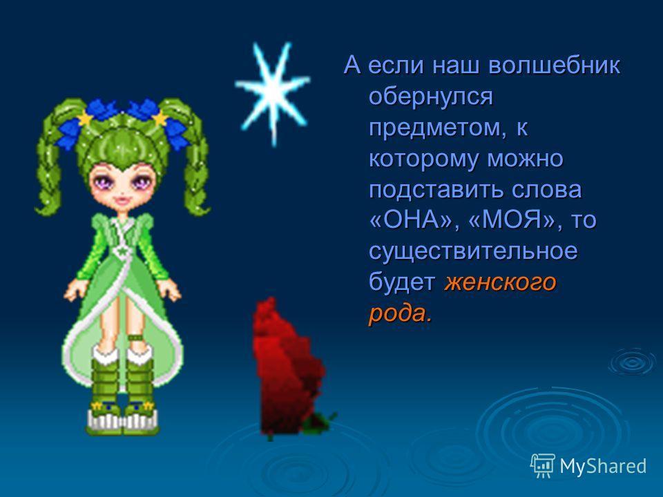 А если наш волшебник обернулся предметом, к которому можно подставить слова «ОНА», «МОЯ», то существительное будет женского рода.