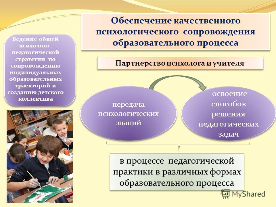 в процессе педагогической практики в различных формах образовательного процесса Ведение общей психолого- педагогической стратегии по сопровождению индивидуальных образовательных траекторий и созданию детского коллектива Обеспечение качественного псих