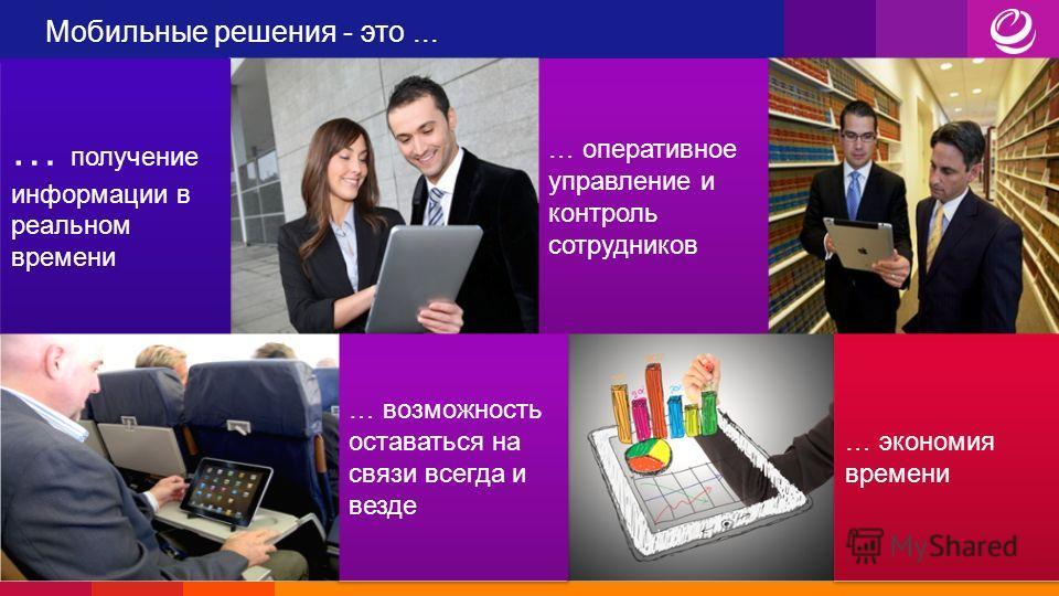 … оперативное управление и контроль сотрудников Мобильные решения - это... … получение информации в реальном времени … возможность оставаться на связи всегда и везде … экономия времени
