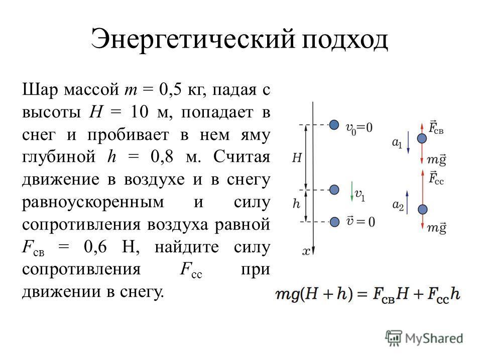 Энергетический подход Шар массой m = 0,5 кг, падая с высоты H = 10 м, попадает в снег и пробивает в нем яму глубиной h = 0,8 м. Считая движение в воздухе и в снегу равноускоренным и силу сопротивления воздуха равной F св = 0,6 Н, найдите силу сопроти