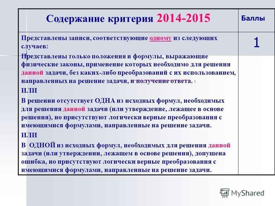 Содержание критерия 2014-2015 Баллы Представлены записи, соответствующие одному из следующих случаев: Представлены только положения и формулы, выражающие физические законы, применение которых необходимо для решения данной задачи, без каких-либо преоб