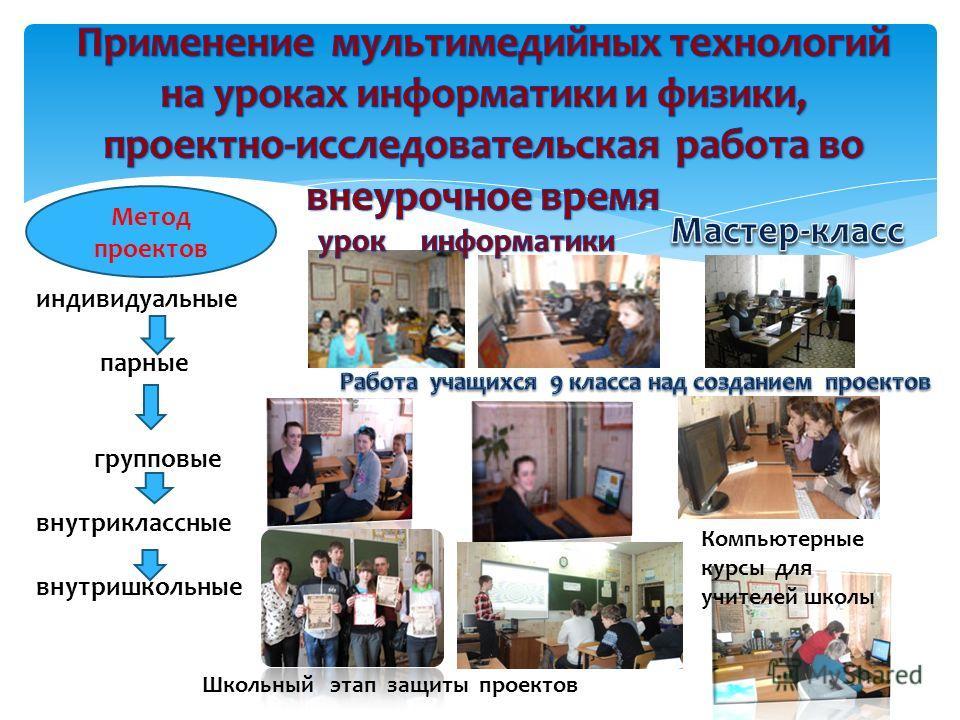 Метод проектов индивидуальные парные групповые внутриклассные внутришкольные Компьютерные курсы для учителей школы Школьный этап защиты проектов