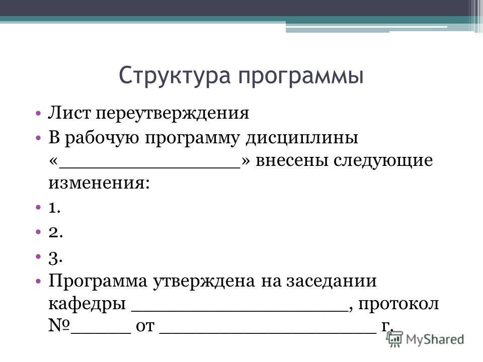 Структура программы Лист переутверждения В рабочую программу дисциплины «_______________» внесены следующие изменения: 1. 2. 3. Программа утверждена на заседании кафедры __________________, протокол _____ от __________________ г.