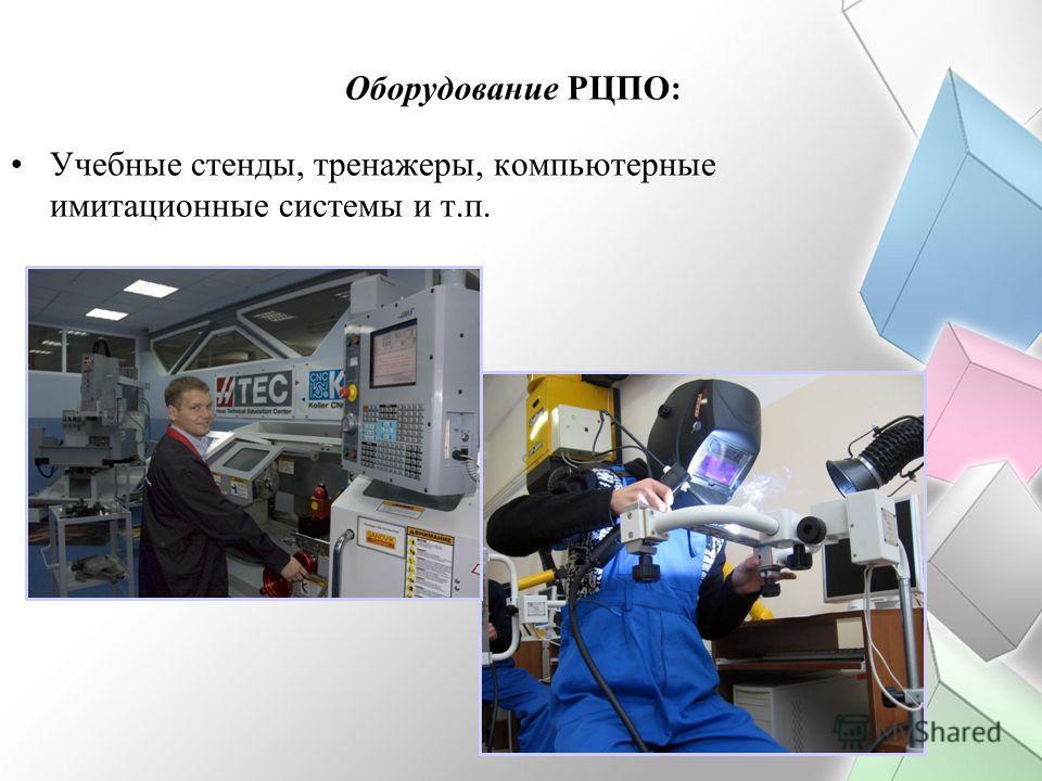Оборудование РЦПО: Учебные стенды, тренажеры, компьютерные имитационные системы и т.п.