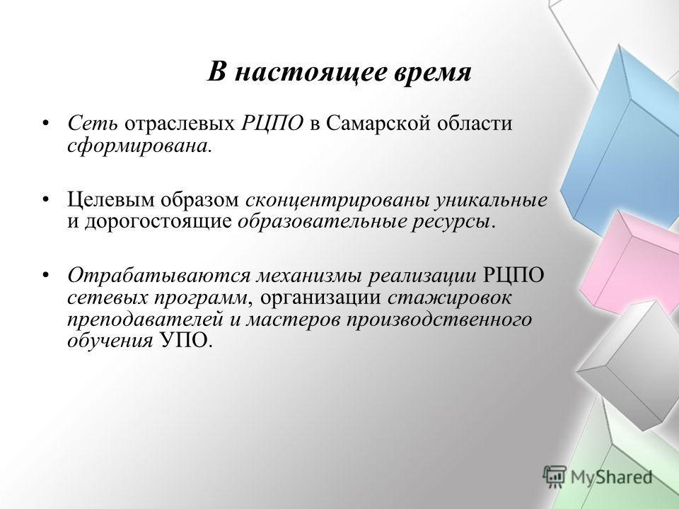 В настоящее время Сеть отраслевых РЦПО в Самарской области сформирована. Целевым образом сконцентрированы уникальные и дорогостоящие образовательные ресурсы. Отрабатываются механизмы реализации РЦПО сетевых программ, организации стажировок преподават