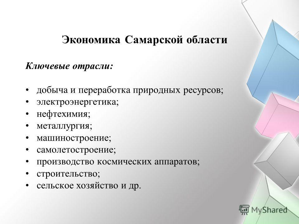 Экономика Самарской области Ключевые отрасли: добыча и переработка природных ресурсов; электроэнергетика; нефтехимия; металлургия; машиностроение; самолетостроение; производство космических аппаратов; строительство; сельское хозяйство и др.