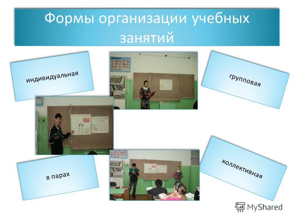 Формы организации учебных занятий индивидуальная групповая в парах коллективная