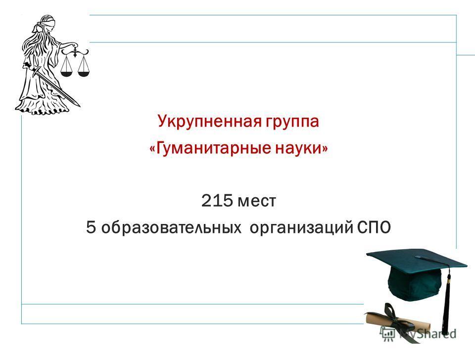 12 Укрупненная группа «Гуманитарные науки» 215 мест 5 образовательных организаций СПО
