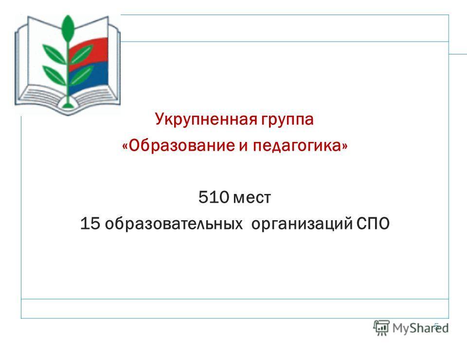 5 Укрупненная группа «Образование и педагогика» 510 мест 15 образовательных организаций СПО