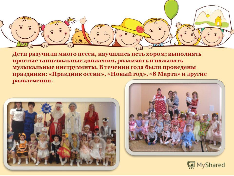 Дети разучили много песен, научились петь хором; выполнять простые танцевальные движения, различать и называть музыкальные инструменты. В течении года были проведены праздники: «Праздник осени», «Новый год», «8 Марта» и другие развлечения.