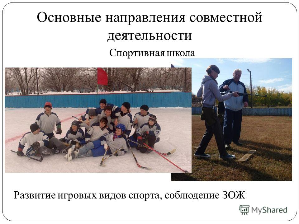 Основные направления совместной деятельности Спортивная школа Развитие игровых видов спорта, соблюдение ЗОЖ