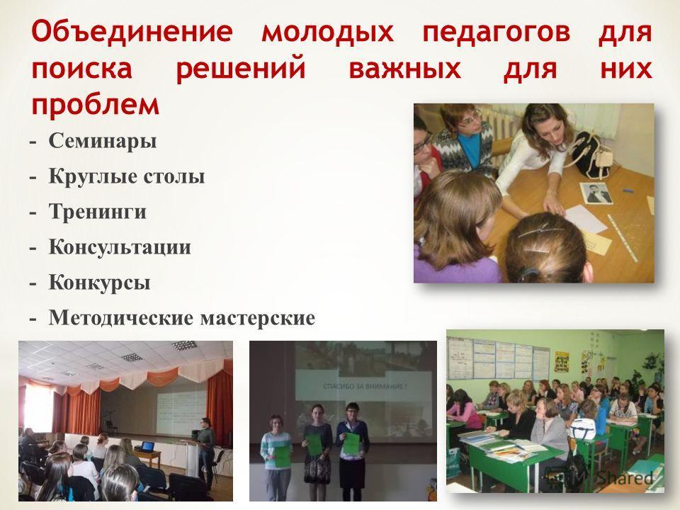 Объединение молодых педагогов для поиска решений важных для них проблем - Семинары - Круглые столы - Тренинги - Консультации - Конкурсы - Методические мастерские