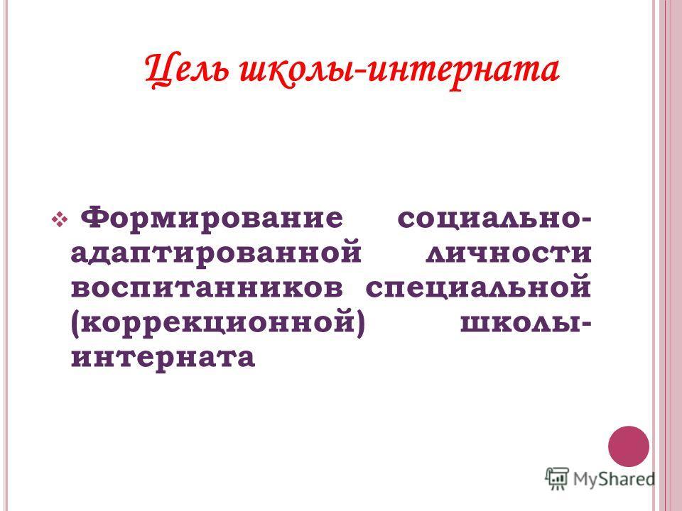 Цель школы-интерната Формирование социально- адаптированной личности воспитанников специальной (коррекционной) школы- интерната