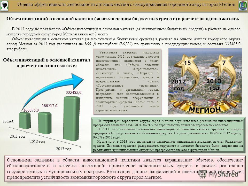 Оценка эффективности деятельности органов местного самоуправления городского округа город Мегион Объем инвестиций в основной капитал (за исключением бюджетных средств) в расчете на одного жителя. В 2013 году по показателю «Объем инвестиций в основной