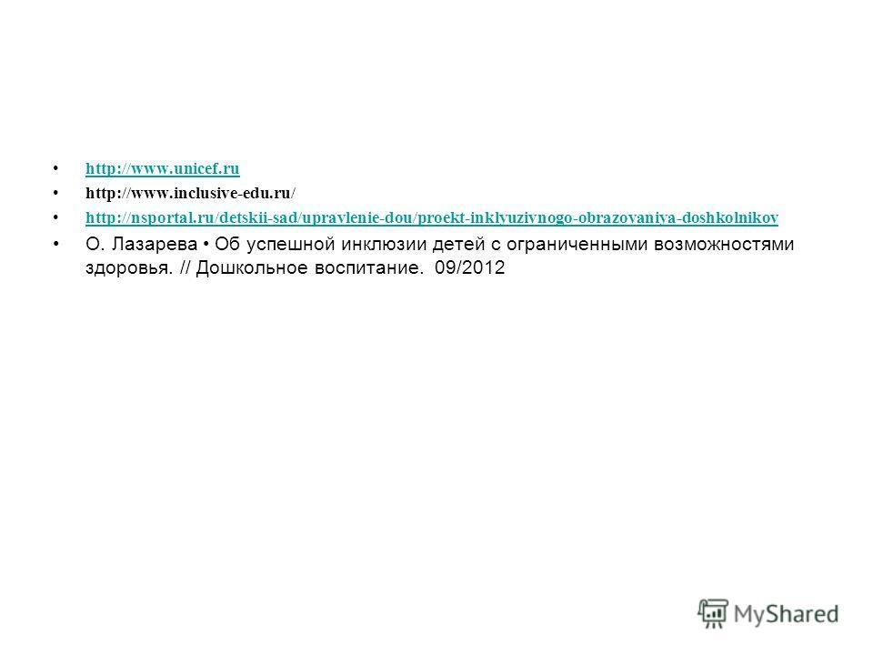 http://www.unicef.ru http://www.inclusive-edu.ru/ http://nsportal.ru/detskii-sad/upravlenie-dou/proekt-inklyuzivnogo-obrazovaniya-doshkolnikov О. Лазарева Об успешной инклюзии детей с ограниченными возможностями здоровья. // Дошкольное воспитание. 09
