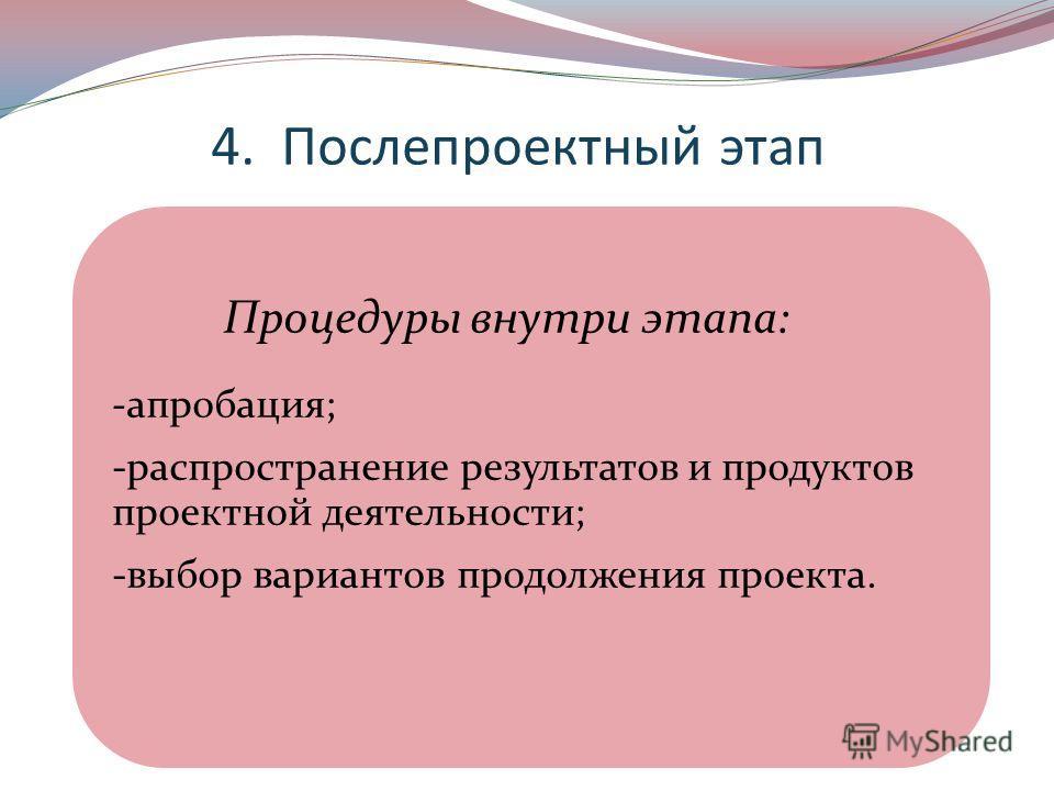 4. Послепроектный этап Процедуры внутри этапа: -апробация; -распространение результатов и продуктов проектной деятельности; -выбор вариантов продолжения проекта.