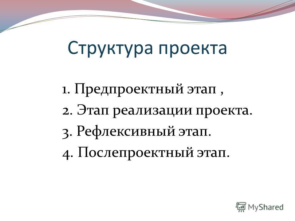 Структура проекта 1. Предпроектный этап, 2. Этап реализации проекта. 3. Рефлексивный этап. 4. Послепроектный этап.
