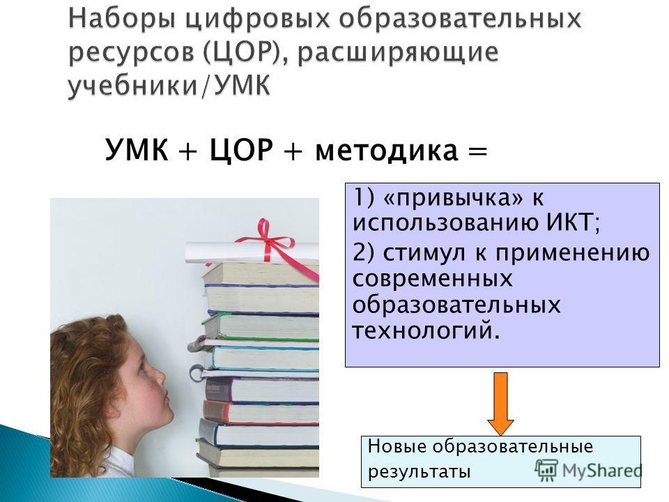 1) « привычка » к использованию ИКТ; 2) стимул к применению современных образовательных технологий. Новые образовательные результаты УМК + ЦОР + методика =