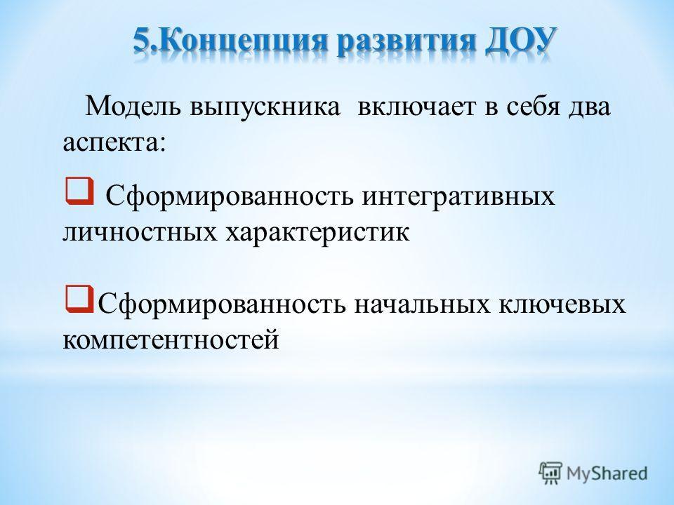 Модель выпускника включает в себя два аспекта: Сформированность интегративных личностных характеристик Сформированность начальных ключевых компетентностей