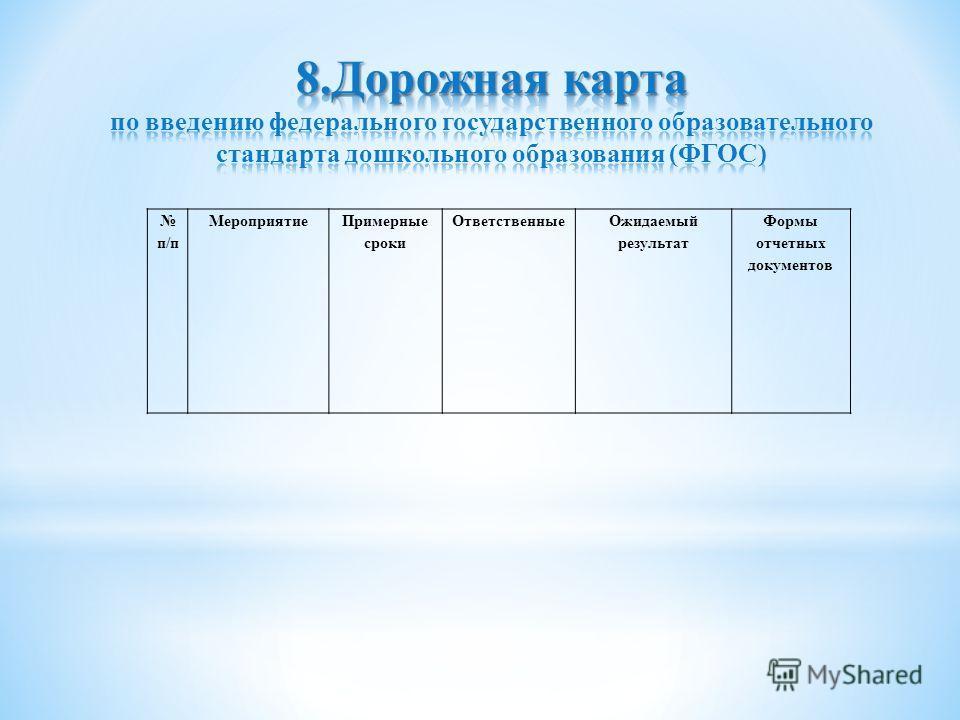 п/п Мероприятие Примерные сроки Ответственные Ожидаемый результат Формы отчетных документов