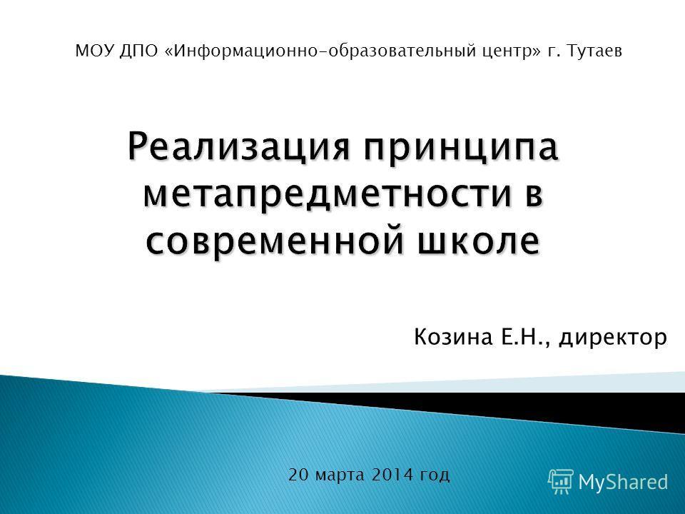 Козина Е.Н., директор 20 марта 2014 год МОУ ДПО «Информационно-образовательный центр» г. Тутаев