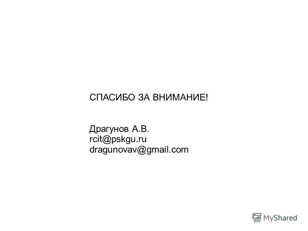 СПАСИБО ЗА ВНИМАНИЕ! Драгунов А.В. rcit@pskgu.ru dragunovav@gmail.com