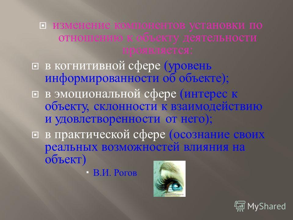 изменение компонентов установки по отношению к объекту деятельности проявляется : в когнитивной сфере ( уровень информированности об объекте ); в эмоциональной сфере ( интерес к объекту, склонности к взаимодействию и удовлетворенности от него ); в пр