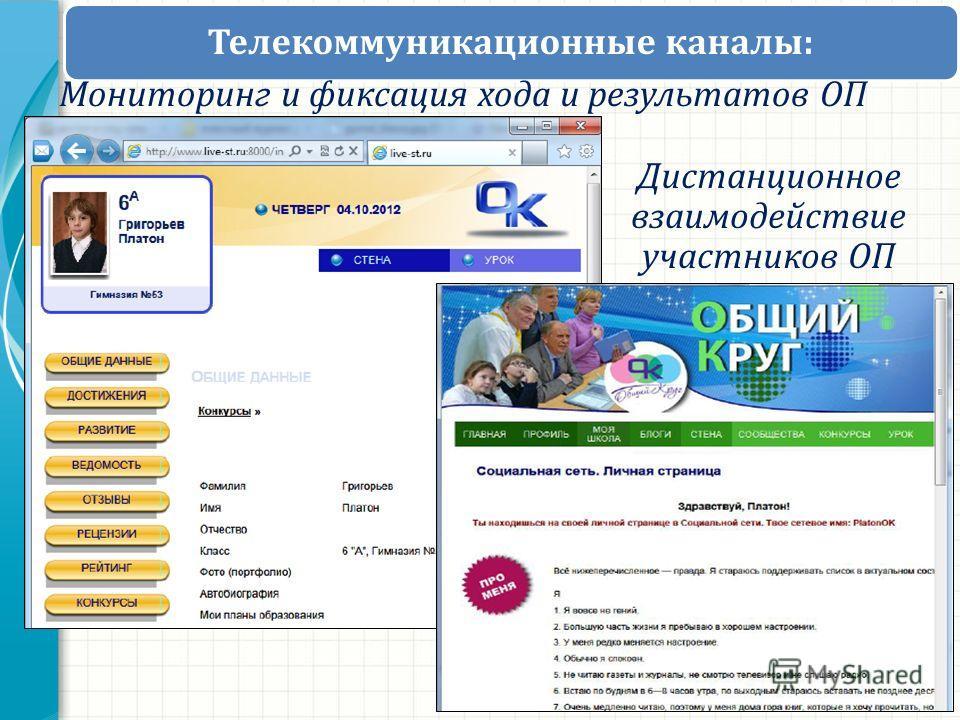 Телекоммуникационные каналы: Дистанционное взаимодействие участников ОП Мониторинг и фиксация хода и результатов ОП