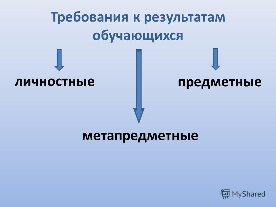 Требования к результатам обучающихся личностные метапредметные предметные