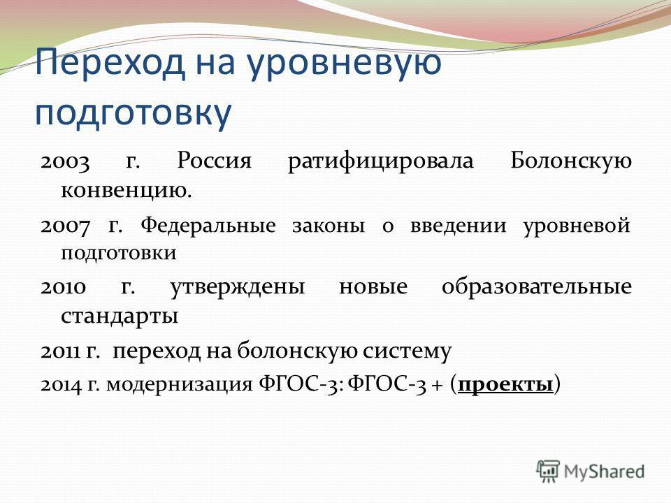 Переход на уровневую подготовку 2003 г. Россия ратифицировала Болонскую конвенцию. 2007 г. Федеральные законы о введении уровневой подготовки 2010 г. утверждены новые образовательные стандарты 2011 г. переход на болонскую систему 2014 г. модернизация