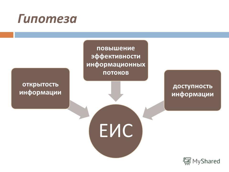 Гипотеза ЕИС открытость информации повышение эффективности информационных потоков доступность информации