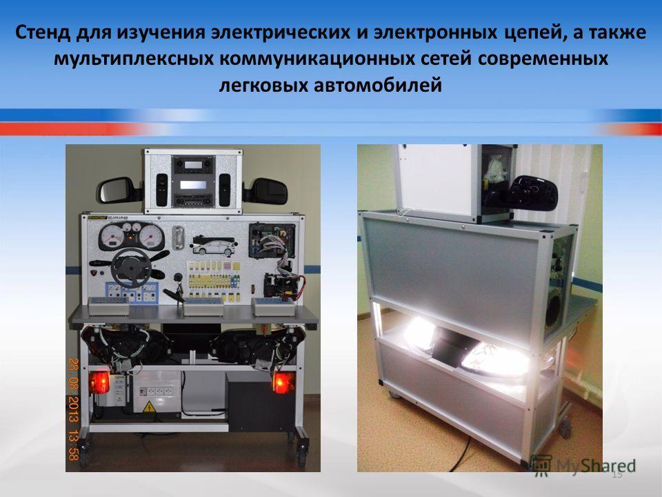 Стенд для изучения электрических и электронных цепей, а также мультиплексных коммуникационных сетей современных легковых автомобилей 15