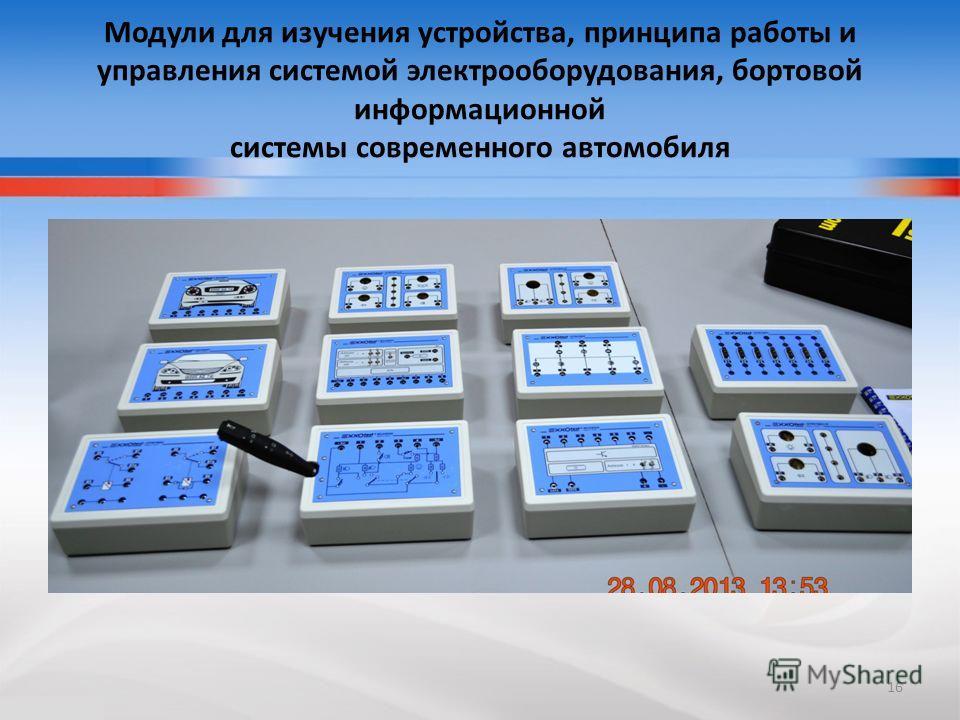 Модули для изучения устройства, принципа работы и управления системой электрооборудования, бортовой информационной системы современного автомобиля 16