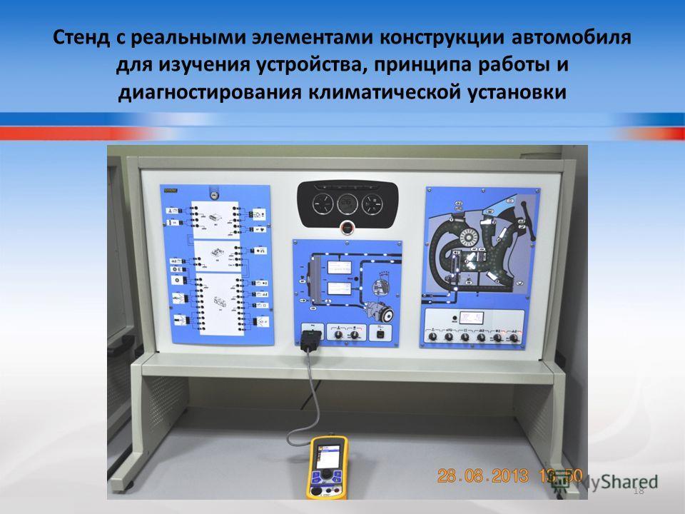 Стенд с реальными элементами конструкции автомобиля для изучения устройства, принципа работы и диагностирования климатической установки 18