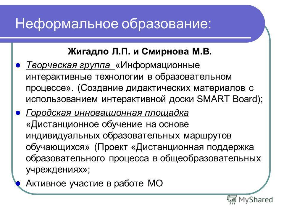 Неформальное образование: Жигадло Л.П. и Смирнова М.В. Творческая группа «Информационные интерактивные технологии в образовательном процессе». (Создание дидактических материалов с использованием интерактивной доски SMART Board); Городская инновационн