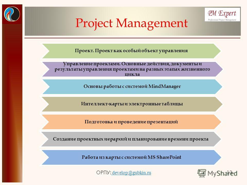 Project Management Проект. Проект как особый объект управления Управление проектами. Основные действия, документы и результаты управления проектами на разных этапах жизненного цикла Основы работы с системой MindManager Интеллект-карты и электронные т