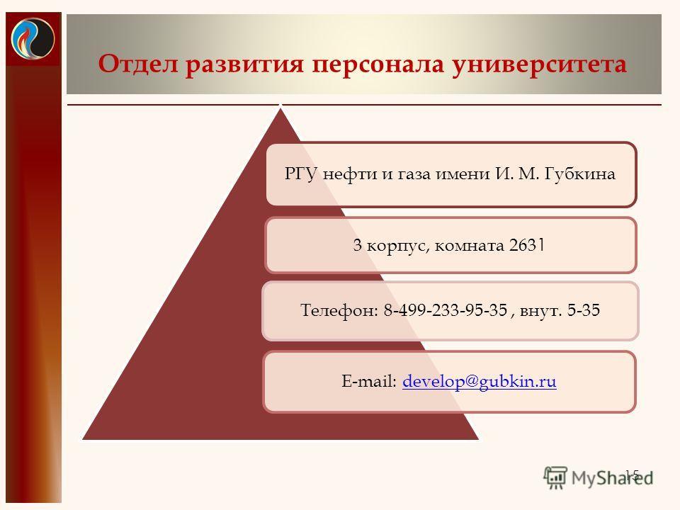 Отдел развития персонала университета РГУ нефти и газа имени И. М. Губкина 3 корпус, комната 263 1 Телефон: 8-499-233-95-35, внут. 5-35 E-mail: develop@gubkin.rudevelop@gubkin.ru 15
