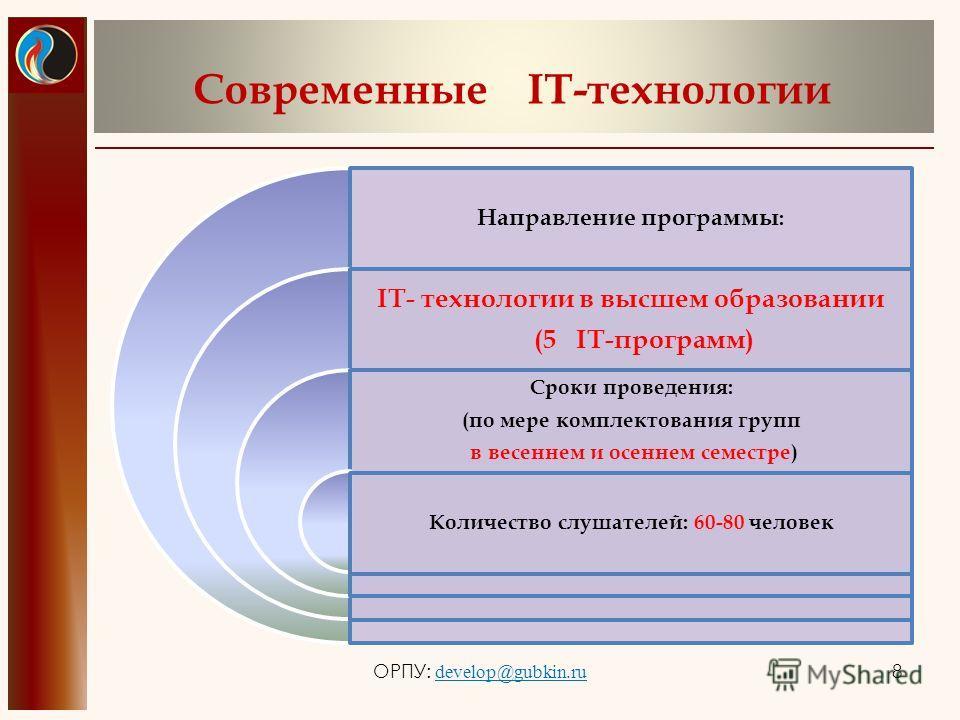 Современные IT-технологии ОРПУ: develop@gubkin.ru 8 Направление программы : IT- технологии в высшем образовании (5 IT-программ) Сроки проведения: (по мере комплектования групп в весеннем и осеннем семестре) Количество слушателей: 60-80 человек