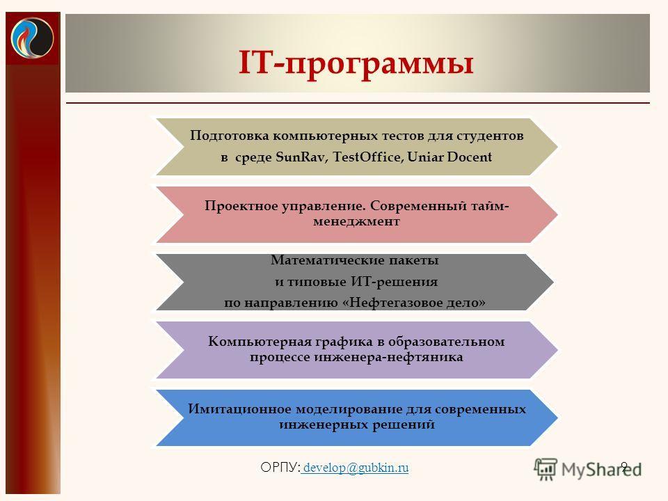 IT-программы ОРПУ: develop@gubkin.ru 9 Подготовка компьютерных тестов для студентов в среде SunRav, TestOffice, Uniar Docent Проектное управление. Современный тайм- менеджмент Математические пакеты и типовые ИТ-решения по направлению «Нефтегазовое де