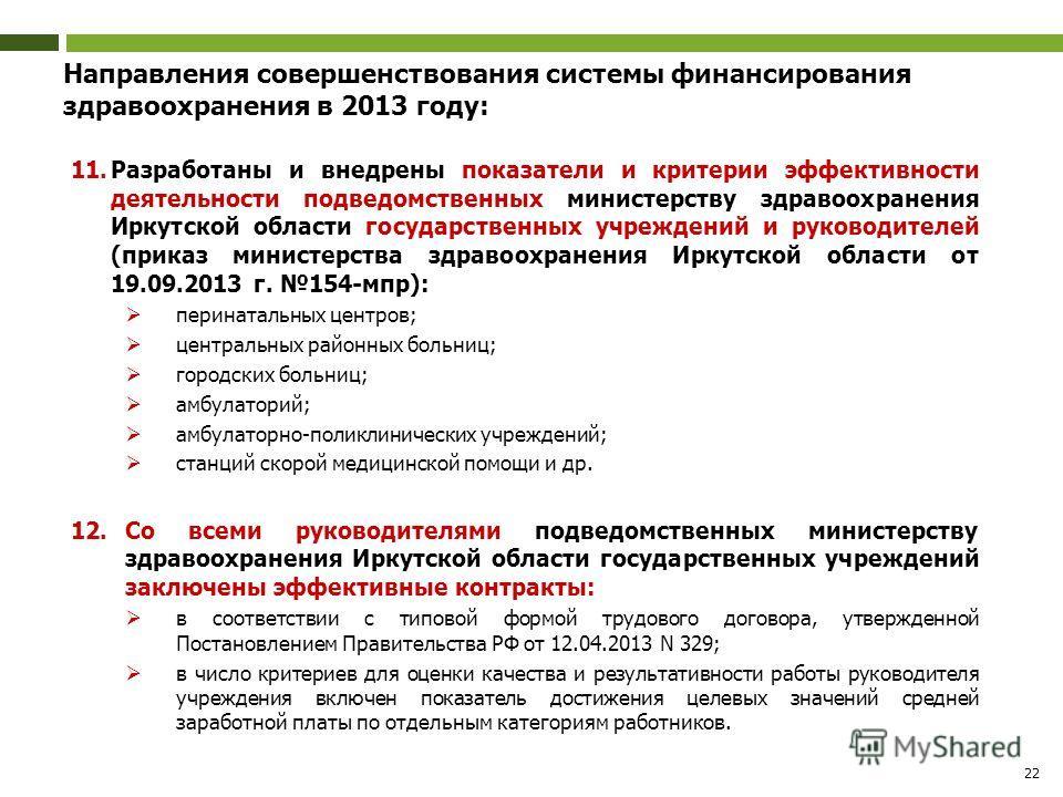 22 Направления совершенствования системы финансирования здравоохранения в 2013 году: 11. Разработаны и внедрены показатели и критерии эффективности деятельности подведомственных министерству здравоохранения Иркутской области государственных учреждени