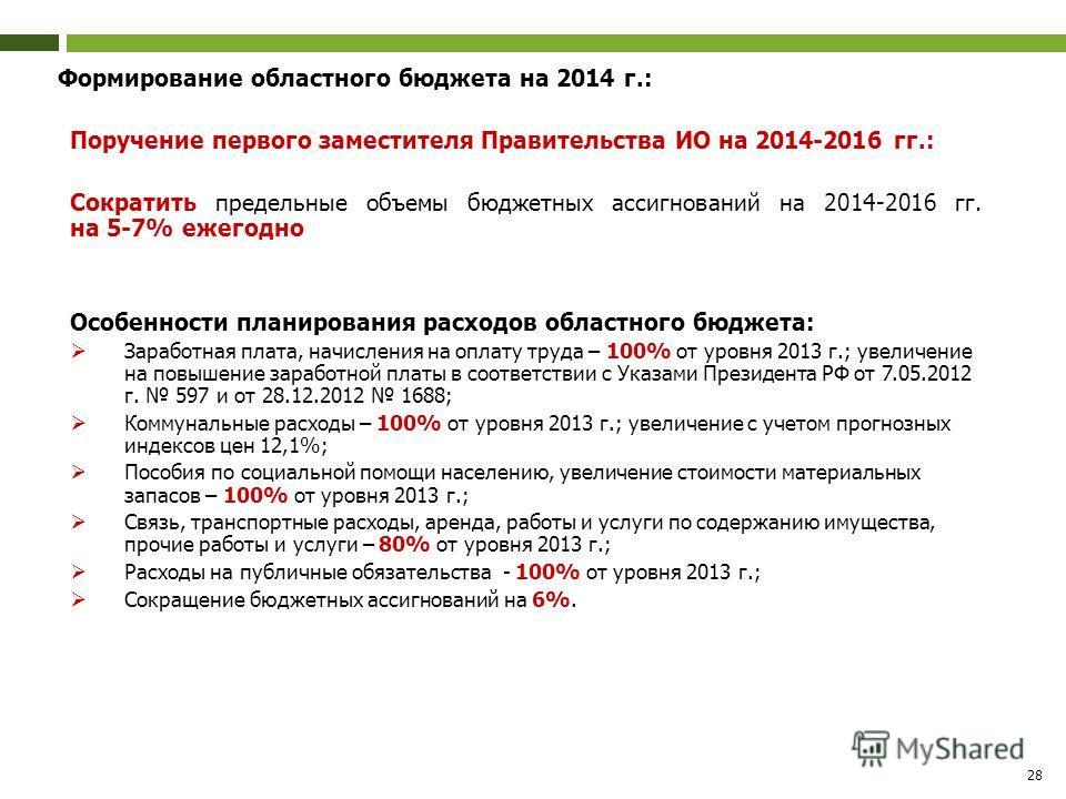28 Формирование областного бюджета на 2014 г.: Поручение первого заместителя Правительства ИО на 2014-2016 гг.: Сократить предельные объемы бюджетных ассигнований на 2014-2016 гг. на 5-7% ежегодно Особенности планирования расходов областного бюджета: