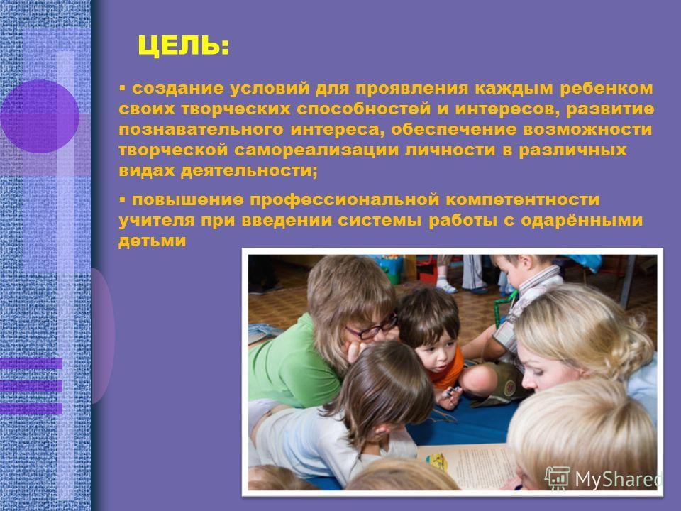 ЦЕЛЬ: создание условий для проявления каждым ребенком своих творческих способностей и интересов, развитие познавательного интереса, обеспечение возможности творческой самореализации личности в различных видах деятельности; повышение профессиональной